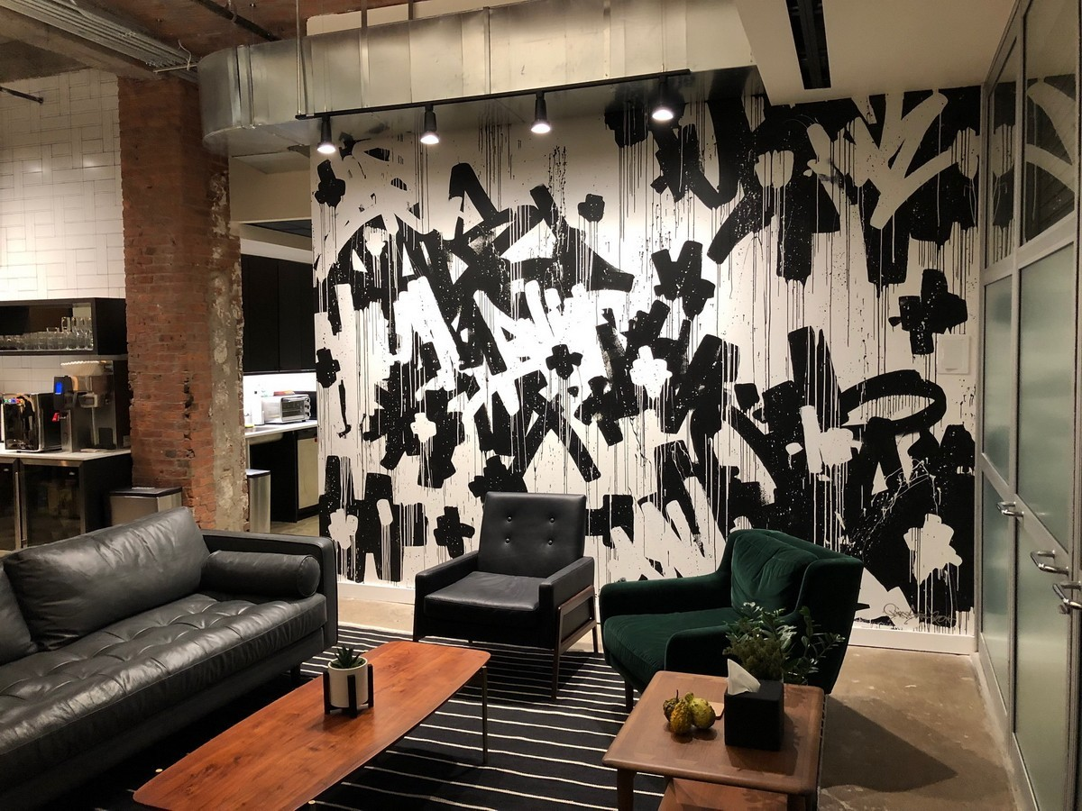 ABSTRACT EXPRESSIONISM DRIPPING MURAL IN A LOFT