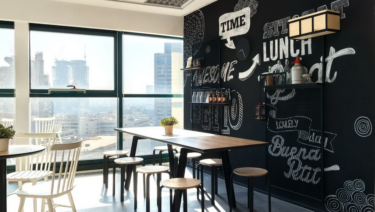 BLACKBOARD MURAL IN AN OFFICE SPACE