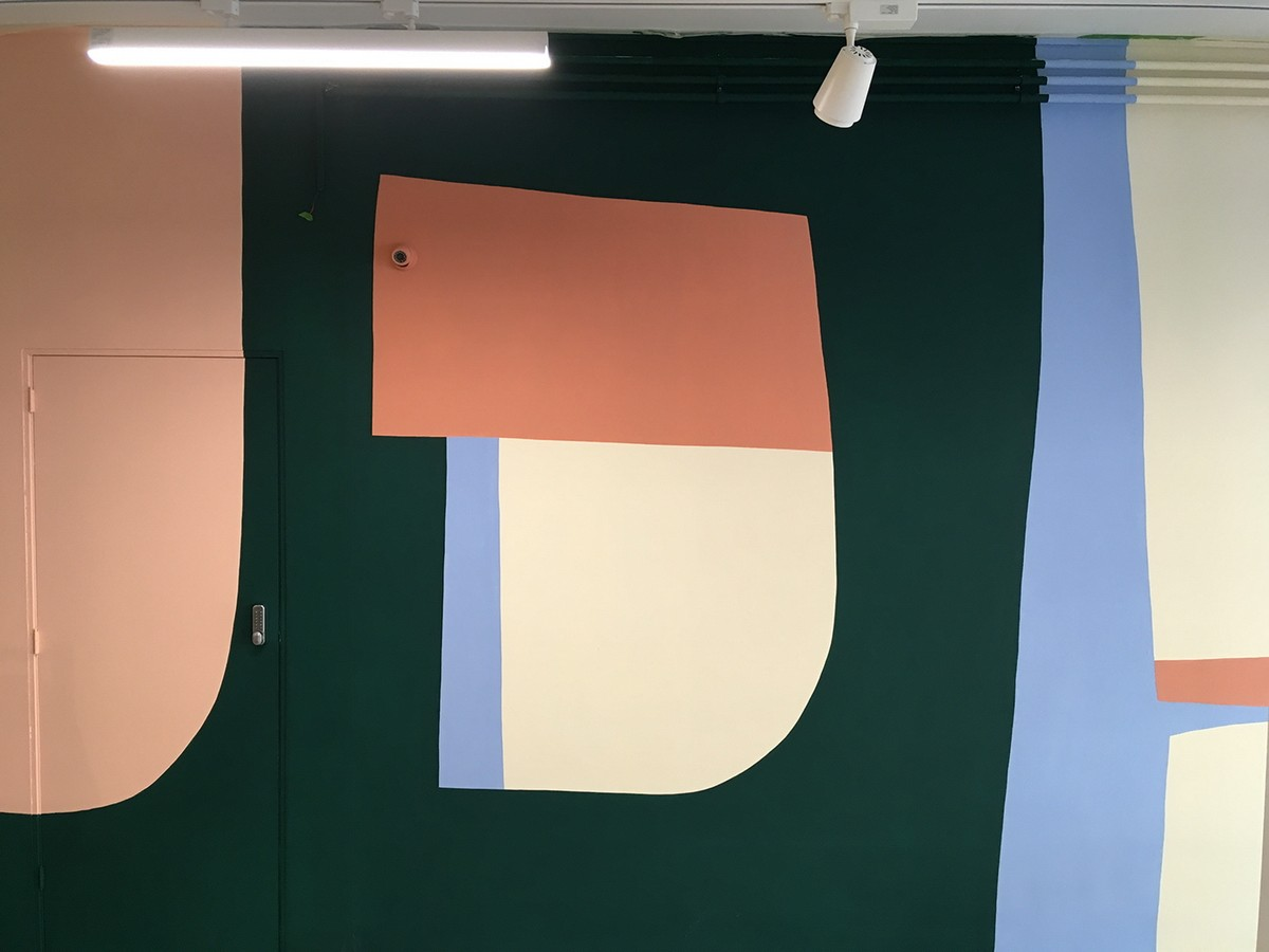 ABSTRACT MURAL IN A SCHOOL